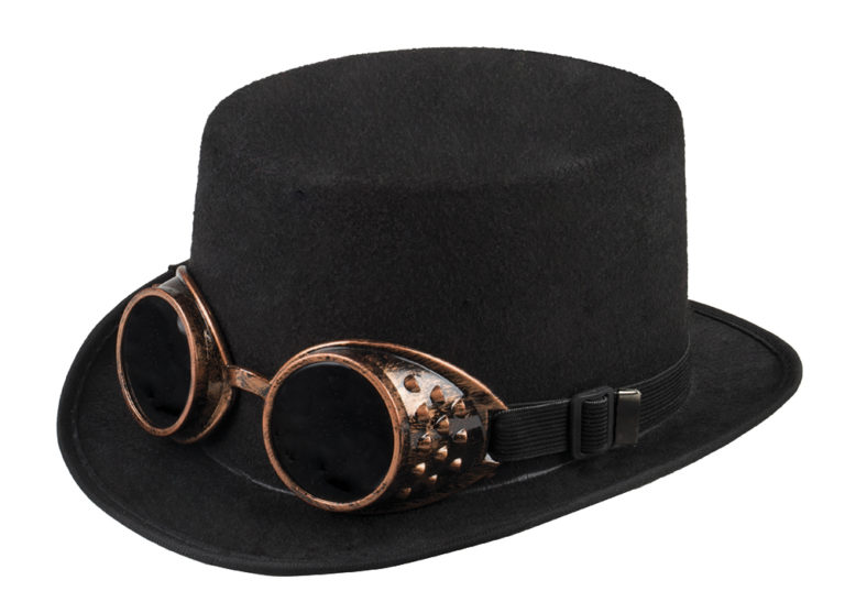 Steampunk hoed steamgoggles