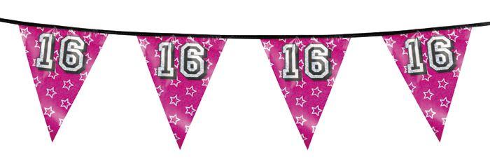 Sweet 16 vlaggenlijn holografisch