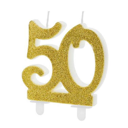 Taartkaarsje 50 glitter goud