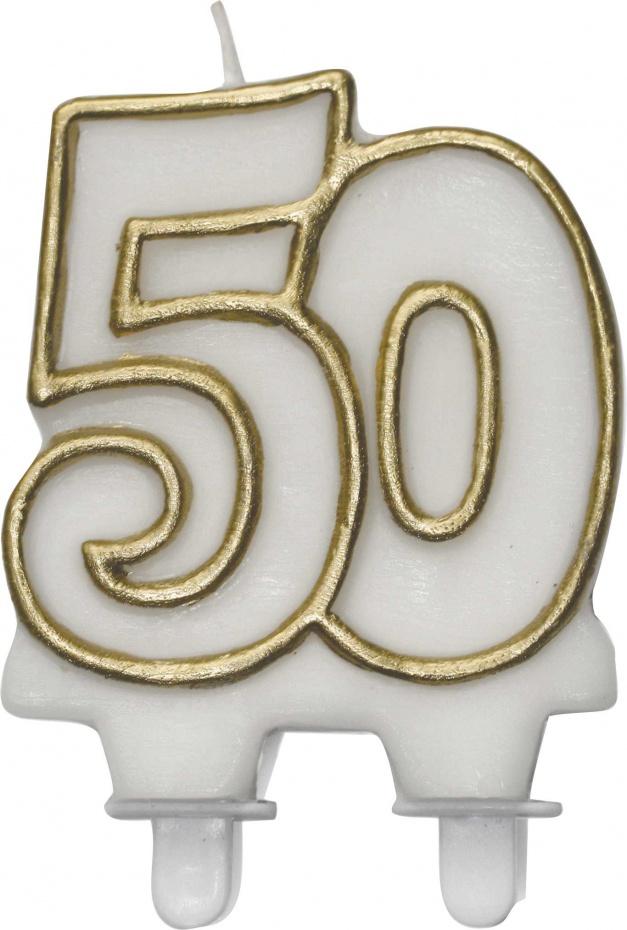 Taartkaarsje 50 goud