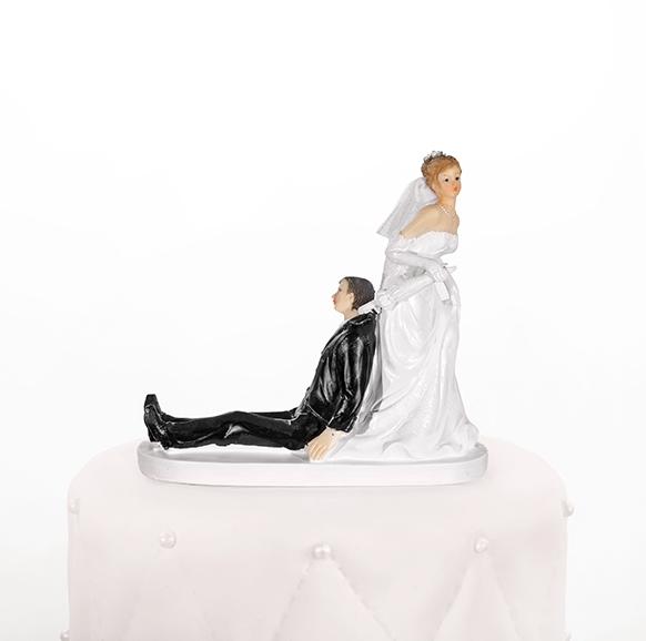 Taarttopper bruidspaar met paraplu