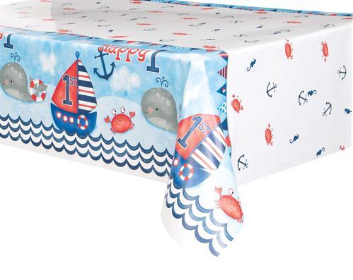Tafelkleed 1st birthday nautical