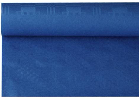 Tafelkleed papier damastprint donker blauw 8m