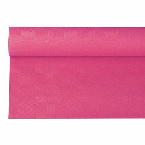 Tafelkleed papier damastprint donker roze 8m