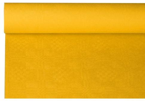 Tafelkleed papier damastprint geel 8m