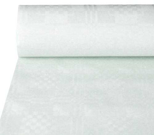 Tafelkleed papier damastprint wit 8m