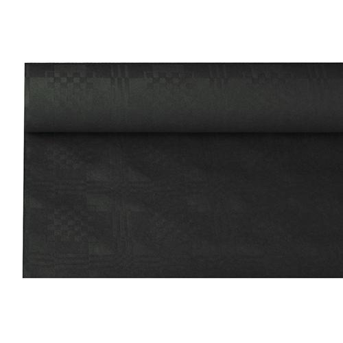 Tafelkleed papier damastprint zwart 8m