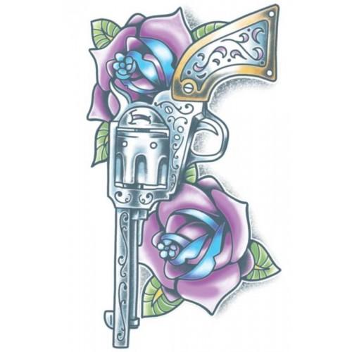 Tatoeage Day of the dead tattoo Pistola