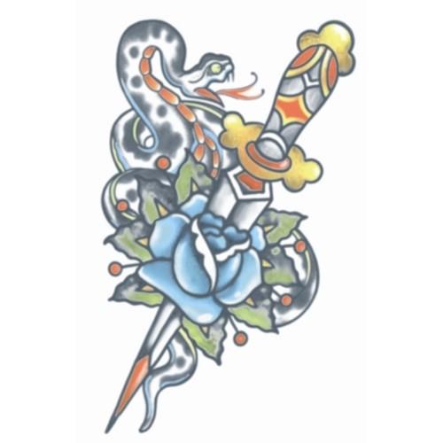 Tatoeage vintage tattoo snake and dagger