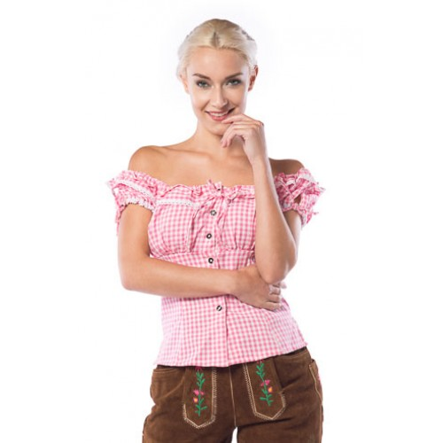 Tiroler blouse dames Liesl roze/wit - 36
