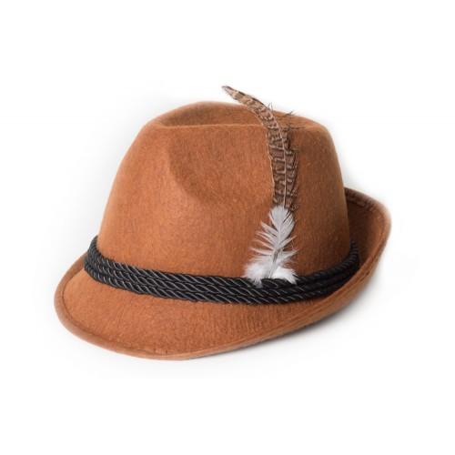 Tiroler hoed bruin met veer