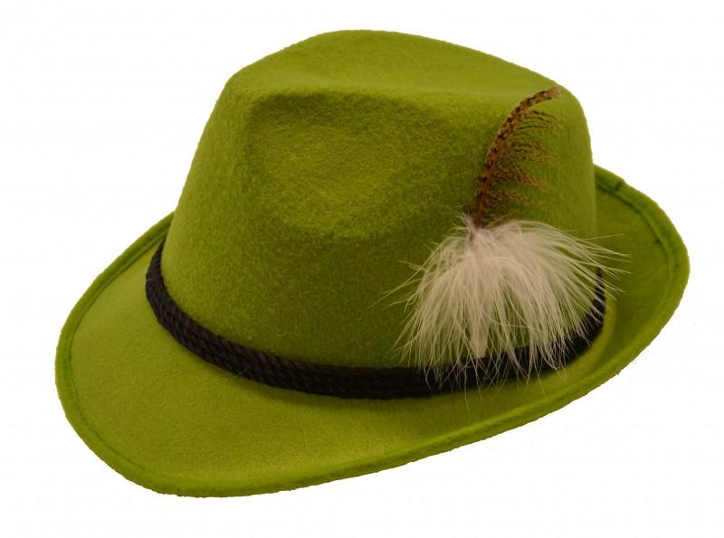 Tiroler hoed mosgroen met veer