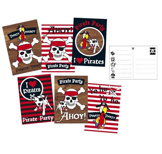 Uitnodigingskaarten I love pirates 6 stuks