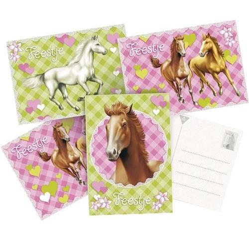 Uitnodigingskaartjen paarden 6 stuks