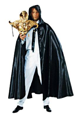 Venetiaanse cape met capuchon zwart