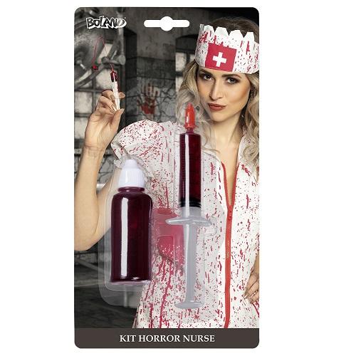 Verpleegster kit injectiespuit met bloed