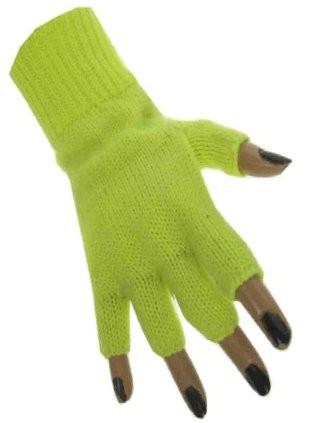 Vingerloze handschoen neon geel