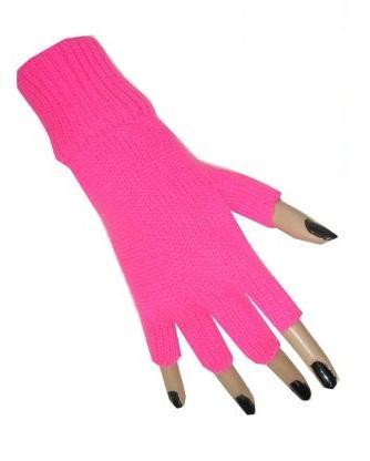 Vingerloze handschoen neon roze