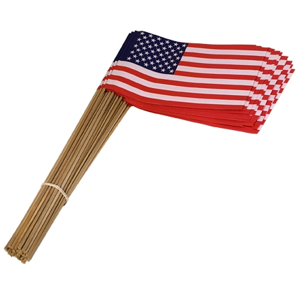 Vlag Amerika met houten steel 30 cm