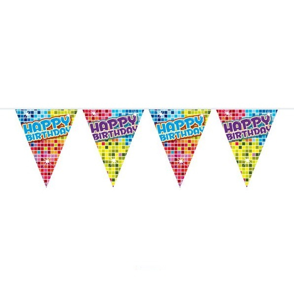 Vlaggenlijn Happy Birthday blocks