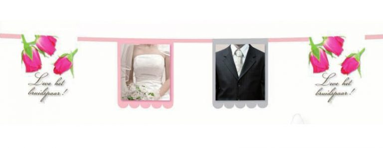 Vlaggenlijn leve het bruidspaar met rozen 3m