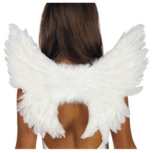 Vleugels wit met veren 50x45cm