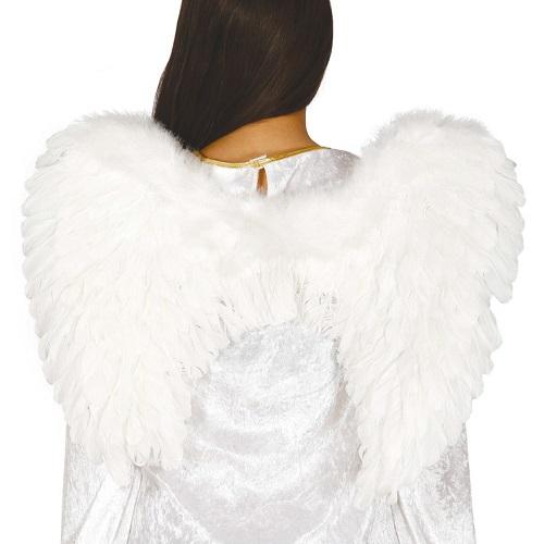 Vleugels wit met veren 60x45cm