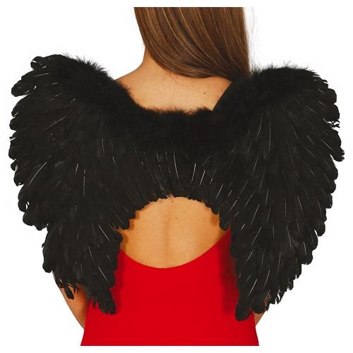 Vleugels zwart met veren 60x45cm