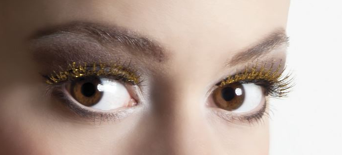 Wimpers kort glitter goud