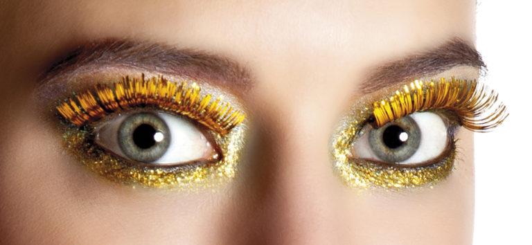 Wimpers metallic goud