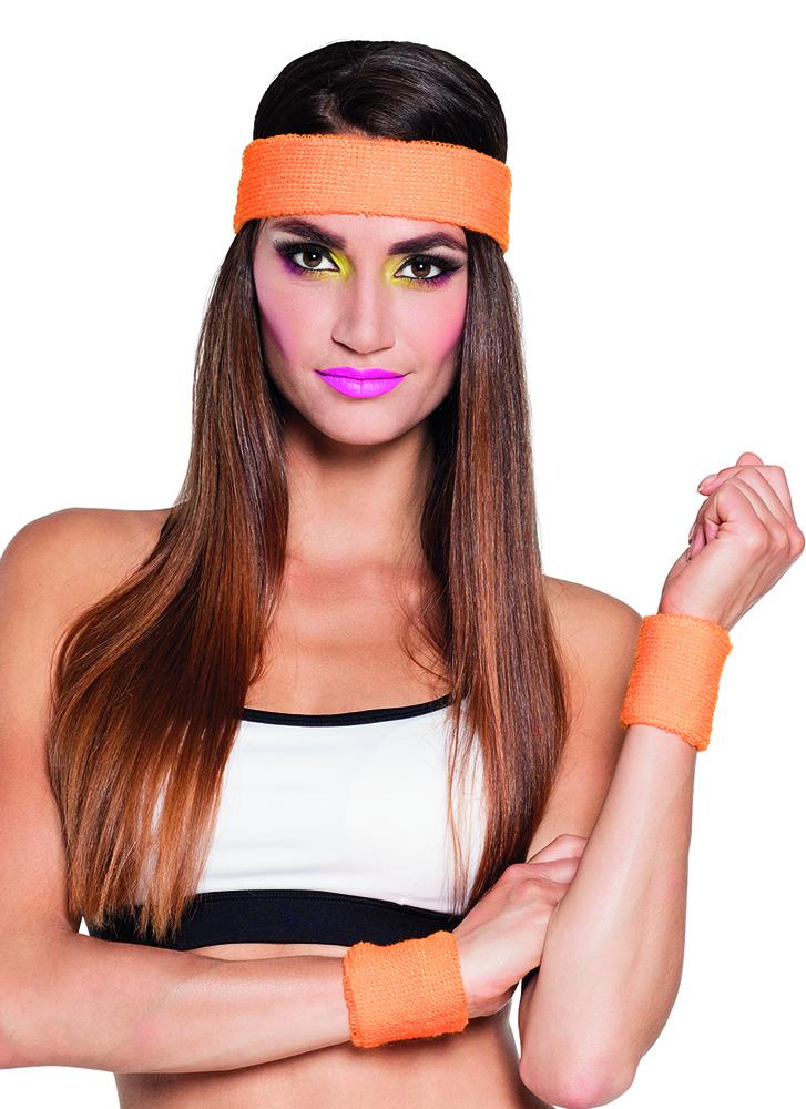 Zweetbandjes set neon oranje
